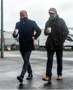 15 November 2020; Former Tyrone manager and BBC Sport pundit Mickey Harte and Sky Sports GAA football analyst Peter Canavan ahead of the Ulster GAA Football Senior Championship Semi-Final match between Cavan and Down at Athletic Grounds in Armagh. Photo by Philip Fitzpatrick/Sportsfile