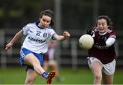 15 November 2020; Cora Courtney of Monaghan in action against Leanne Coen of Galway during the TG4 All-Ireland Senior Ladies Football Championship Round 3 match between Galway and Monaghan at Páirc Seán Mac Diarmada in Carrick-on-Shannon, Leitrim. Photo by Sam Barnes/Sportsfile