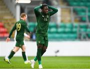 15 November 2020; Michael Obafemi of Republic of Ireland reacts during the UEFA European U21 Championship Qualifier match between Republic of Ireland and Iceland at Tallaght Stadium in Dublin.  Photo by Harry Murphy/Sportsfile