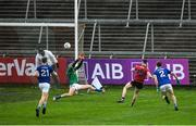 15 November 2020; Ceilium Doherty of Down scores his side's first goal past Raymond Galligan of Cavan during the Ulster GAA Football Senior Championship Semi-Final match between Cavan and Down at Athletic Grounds in Armagh. Photo by Daire Brennan/Sportsfile