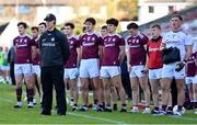 15 November 2020; Galway manager Padraic Joyce and his team during the playing of the National Anthem ahead of the Connacht GAA Football Senior Championship Final match between Galway and Mayo at Pearse Stadium in Galway. Photo by Ramsey Cardy/Sportsfile