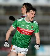 15 November 2020; Matthew Ruane of Mayo celebrates a point during the Connacht GAA Football Senior Championship Final match between Galway and Mayo at Pearse Stadium in Galway. Photo by Ramsey Cardy/Sportsfile