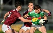 15 November 2020; Lee Keegan of Mayo in action against Sean Mulkerry, left, and Liam Silke of Galway during the Connacht GAA Football Senior Championship Final match between Galway and Mayo at Pearse Stadium in Galway. Photo by Ramsey Cardy/Sportsfile