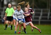 15 November 2020; Jennifer Duffy of Monaghan is tackled by Lynsey Noone of Galway during the TG4 All-Ireland Senior Ladies Football Championship Round 3 match between Galway and Monaghan at Páirc Seán Mac Diarmada in Carrick-on-Shannon, Leitrim. Photo by Sam Barnes/Sportsfile