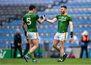 15 November 2020; Meath players Donal Keogan, left, and Jordan Morris celebrate after the Leinster GAA Football Senior Championship Semi-Final match between Kildare and Meath at Croke Park in Dublin. Photo by Piaras Ó Mídheach/Sportsfile