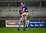 15 November 2020; Gearóid McKiernan, right, and Jason McLoughlin celebrate after the Ulster GAA Football Senior Championship Semi-Final match between Cavan and Down at Athletic Grounds in Armagh. Photo by Dáire Brennan/Sportsfile