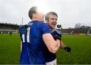15 November 2020; Gearóid McKiernan, left, and Thomas Galligan of Cavan celebrate after the Ulster GAA Football Senior Championship Semi-Final match between Cavan and Down at Athletic Grounds in Armagh. Photo by Dáire Brennan/Sportsfile