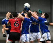 15 November 2020; Cavan players, left to right, Gearóid McKiernan, Ciarán Brady, Stephen Smith and Thomas Galligan battle for the ball against Down players, left to right, Kevin McKernan, and Caolán Mooney during the Ulster GAA Football Senior Championship Semi-Final match between Cavan and Down at Athletic Grounds in Armagh. Photo by Dáire Brennan/Sportsfile