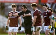 15 November 2020; Galway players protest to referee Sean Hurson as he awards a free kick late in the game during the Connacht GAA Football Senior Championship Final match between Galway and Mayo at Pearse Stadium in Galway. Photo by David Fitzgerald/Sportsfile
