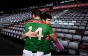 15 November 2020; Aidan O'Shea of Mayo, left, and Conor Loftus embrace after the Connacht GAA Football Senior Championship Final match between Galway and Mayo at Pearse Stadium in Galway. Photo by David Fitzgerald/Sportsfile
