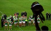 15 November 2020; Mayo players look on as captain Aidan O'Shea lifts the cup following the Connacht GAA Football Senior Championship Final match between Galway and Mayo at Pearse Stadium in Galway. Photo by David Fitzgerald/Sportsfile