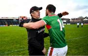 15 November 2020; Galway manager Padraic Joyce congratulates Aidan O'Shea of Mayo following the Connacht GAA Football Senior Championship Final match between Galway and Mayo at Pearse Stadium in Galway. Photo by David Fitzgerald/Sportsfile