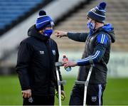 15 November 2020; Waterford manager Liam Cahill, left, and Pauric Mahony of Waterford before the Munster GAA Hurling Senior Championship Final match between Limerick and Waterford at Semple Stadium in Thurles, Tipperary. Photo by Ray McManus/Sportsfile