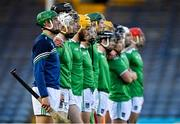 15 November 2020; Cian Lynch of Limerick, 2nd from left, and his team-mates stand for a moments silence in memory of his late uncle Paul Carey prior to the Munster GAA Hurling Senior Championship Final match between Limerick and Waterford at Semple Stadium in Thurles, Tipperary. Photo by Brendan Moran/Sportsfile