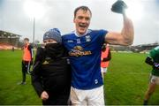 15 November 2020; Gearóid McKiernan of Cavan celebrates after winning the Ulster GAA Football Senior Championship Semi-Final match between Cavan and Down at Athletic Grounds in Armagh. Photo by Philip Fitzpatrick/Sportsfile
