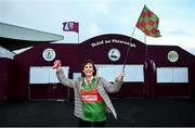 15 November 2020; Mayo supporter Cathy Higgins from Kiltamagh, Co Mayo, outside the ground following the Connacht GAA Football Senior Championship Final match between Galway and Mayo at Pearse Stadium in Galway. Photo by David Fitzgerald/Sportsfile