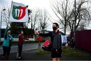 15 November 2020; Tom Parsons of Mayo walks past Mayo supporters outside the ground following the Connacht GAA Football Senior Championship Final match between Galway and Mayo at Pearse Stadium in Galway. Photo by David Fitzgerald/Sportsfile