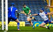 15 November 2020; Peter Casey of Limerick has a shot on goal blocked by Conor Prunty of Waterford during the Munster GAA Hurling Senior Championship Final match between Limerick and Waterford at Semple Stadium in Thurles, Tipperary. Photo by Brendan Moran/Sportsfile