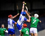 15 November 2020; Austin Gleeson, 14, supported by team-mate Jack Prendergast in action against Kyle Hayes, 7, and Barry Nash of Limerick during the Munster GAA Hurling Senior Championship Final match between Limerick and Waterford at Semple Stadium in Thurles, Tipperary. Photo by Ray McManus/Sportsfile