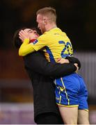 15 November 2020; Dean Byrne, right, and Sam Verdon of Longford Town celebrate with a kiss following the SSE Airtricity League Play-off Final match between Shelbourne and Longford Town at Richmond Park in Dublin. Photo by Harry Murphy/Sportsfile