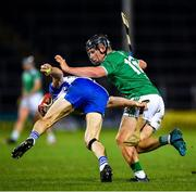 15 November 2020; Tadhg De Búrca of Waterford is tackled by Peter Casey of Limerick during the Munster GAA Hurling Senior Championship Final match between Limerick and Waterford at Semple Stadium in Thurles, Tipperary. Photo by Ray McManus/Sportsfile