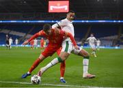 15 November 2020; Adam Idah of Republic of Ireland in action against Chris Mepham of Wales during the UEFA Nations League B match between Wales and Republic of Ireland at Cardiff City Stadium in Cardiff, Wales. Photo by Stephen McCarthy/Sportsfile