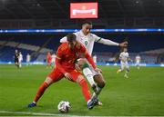 15 November 2020; Chris Mepham of Wales in action against Adam Idah of Republic of Ireland during the UEFA Nations League B match between Wales and Republic of Ireland at Cardiff City Stadium in Cardiff, Wales. Photo by Stephen McCarthy/Sportsfile