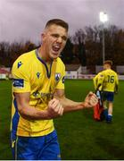 15 November 2020; Michael McDonnell of Longford Town celebrates following the SSE Airtricity League Play-off Final match between Shelbourne and Longford Town at Richmond Park in Dublin. Photo by Harry Murphy/Sportsfile