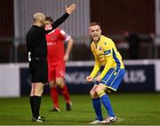 15 November 2020; Dean Byrne of Longford Town reacts as referee Neil Doyle blows the full-time whistle during the SSE Airtricity League Play-off Final match between Shelbourne and Longford Town at Richmond Park in Dublin. Photo by Harry Murphy/Sportsfile