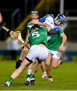 15 November 2020; Diarmaid Byrnes of Limerick breaks his hurley blocking an attempt of Kieran Bennett of Waterford during the Munster GAA Hurling Senior Championship Final match between Limerick and Waterford at Semple Stadium in Thurles, Tipperary. Photo by Brendan Moran/Sportsfile