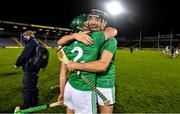 15 November 2020; Diarmaid Byrnes, right, and Sean Finn of Limerick celebrate after the Munster GAA Hurling Senior Championship Final match between Limerick and Waterford at Semple Stadium in Thurles, Tipperary. Photo by Brendan Moran/Sportsfile