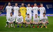 15 November 2020; The Republic of Ireland team, back row, from left to right, Shane Duffy, Kevin Long, Darren Randolph, Matt Doherty, Dara O'Shea and James McClean. Front row, from left to right, Adam Idah, Jeff Hendrick, Jayson Molumby, Daryl Horgan and Robbie Brady prior to the UEFA Nations League B match between Wales and Republic of Ireland at Cardiff City Stadium in Cardiff, Wales. Photo by Stephen McCarthy/Sportsfile