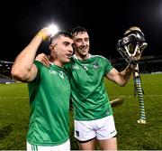 15 November 2020; Aaron Gillane, left, and Diarmaid Byrnes of Limerick after the Munster GAA Hurling Senior Championship Final match between Limerick and Waterford at Semple Stadium in Thurles, Tipperary. Photo by Ray McManus/Sportsfile