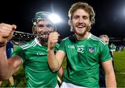15 November 2020; Sean Finn, left, and Seamus Flanagan of Limerick celebrate after the Munster GAA Hurling Senior Championship Final match between Limerick and Waterford at Semple Stadium in Thurles, Tipperary. Photo by Brendan Moran/Sportsfile
