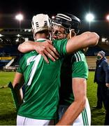 15 November 2020; Kyle Hayes, left, and Gearoid Hegarty of Limerick celebrate after the Munster GAA Hurling Senior Championship Final match between Limerick and Waterford at Semple Stadium in Thurles, Tipperary. Photo by Ray McManus/Sportsfile