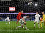 15 November 2020; David Brooks of Wales scores his side's goal despite the attention of of Shane Duffy of Republic of Ireland during the UEFA Nations League B match between Wales and Republic of Ireland at Cardiff City Stadium in Cardiff, Wales. Photo by Stephen McCarthy/Sportsfile