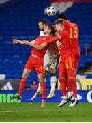 15 November 2020; Shane Duffy of Republic of Ireland in action against Wales players, from left, Ben Davies, Joe Rodon and Kieffer Moore during the UEFA Nations League B match between Wales and Republic of Ireland at Cardiff City Stadium in Cardiff, Wales. Photo by Stephen McCarthy/Sportsfile