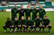 15 November 2020; Republic of Ireland players, back row, from left, Nathan Collins, Ed McGinty, Conor Coventry, Jack Taylor and Liam Scales, front row, from left, Michael Obafemi, Lee O'Connor, Anthony Scully, Connor Ronan, Zack Elbouzedi and Conor Masterson prior to the UEFA European U21 Championship Qualifier match between Republic of Ireland and Iceland at Tallaght Stadium in Dublin.  Photo by Harry Murphy/Sportsfile