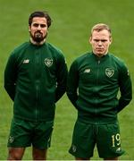 15 November 2020; Zack Elbouzedi, left, and Anthony Scully of Republic of Ireland prior to the UEFA European U21 Championship Qualifier match between Republic of Ireland and Iceland at Tallaght Stadium in Dublin.  Photo by Harry Murphy/Sportsfile