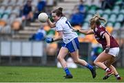 15 November 2020; Lauren Garland of Monaghan in action against Lynsey Noone of Galway during the TG4 All-Ireland Senior Ladies Football Championship Round 3 match between Galway and Monaghan at Páirc Seán Mac Diarmada in Carrick-on-Shannon, Leitrim. Photo by Sam Barnes/Sportsfile