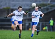 15 November 2020; Louise Kerley of Monaghan, left, during the TG4 All-Ireland Senior Ladies Football Championship Round 3 match between Galway and Monaghan at Páirc Seán Mac Diarmada in Carrick-on-Shannon, Leitrim. Photo by Sam Barnes/Sportsfile