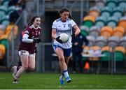 15 November 2020; Muireann Atkinson of Monaghan in action against Leanne Coen of Galway during the TG4 All-Ireland Senior Ladies Football Championship Round 3 match between Galway and Monaghan at Páirc Seán Mac Diarmada in Carrick-on-Shannon, Leitrim. Photo by Sam Barnes/Sportsfile