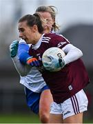 15 November 2020; Sinéad Burke of Galway in action against Ellen McCarron of Monaghan during the TG4 All-Ireland Senior Ladies Football Championship Round 3 match between Galway and Monaghan at Páirc Seán Mac Diarmada in Carrick-on-Shannon, Leitrim. Photo by Sam Barnes/Sportsfile