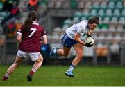 15 November 2020; Muireann Atkinson of Monaghan in action against Nicola Ward of Galway during the TG4 All-Ireland Senior Ladies Football Championship Round 3 match between Galway and Monaghan at Páirc Seán Mac Diarmada in Carrick-on-Shannon, Leitrim. Photo by Sam Barnes/Sportsfile