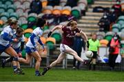 15 November 2020; Louise Ward of Galway breaks away from the Monaghan defence during the TG4 All-Ireland Senior Ladies Football Championship Round 3 match between Galway and Monaghan at Páirc Seán Mac Diarmada in Carrick-on-Shannon, Leitrim. Photo by Sam Barnes/Sportsfile