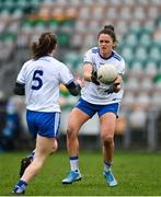 15 November 2020; Muireann Atkinson of Monaghan hand passes to team-mate Rosemary Courtney during the TG4 All-Ireland Senior Ladies Football Championship Round 3 match between Galway and Monaghan at Páirc Seán Mac Diarmada in Carrick-on-Shannon, Leitrim. Photo by Sam Barnes/Sportsfile