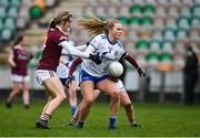 15 November 2020; Jennifer Duffy of Monaghan in action against Tracey Leonard of Galway during the TG4 All-Ireland Senior Ladies Football Championship Round 3 match between Galway and Monaghan at Páirc Seán Mac Diarmada in Carrick-on-Shannon, Leitrim. Photo by Sam Barnes/Sportsfile