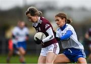 15 November 2020; Tracey Leonard of Galway in action against Nicola Fahy of Monaghan during the TG4 All-Ireland Senior Ladies Football Championship Round 3 match between Galway and Monaghan at Páirc Seán Mac Diarmada in Carrick-on-Shannon, Leitrim. Photo by Sam Barnes/Sportsfile