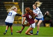 15 November 2020; Olivia Divilly of Galway in action against Eimear McAnespie, left, and Casey Treanor of Monaghan  during the TG4 All-Ireland Senior Ladies Football Championship Round 3 match between Galway and Monaghan at Páirc Seán Mac Diarmada in Carrick-on-Shannon, Leitrim. Photo by Sam Barnes/Sportsfile