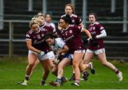 15 November 2020; Cora Courtney of Monaghan in action against Andrea Trill, left, and Charlotte Cooney of Galway during the TG4 All-Ireland Senior Ladies Football Championship Round 3 match between Galway and Monaghan at Páirc Seán Mac Diarmada in Carrick-on-Shannon, Leitrim. Photo by Sam Barnes/Sportsfile
